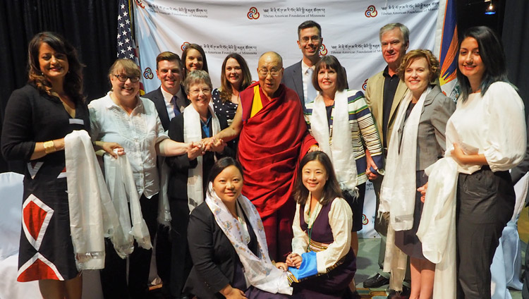 His Holiness the Dalai Lama with local government representatives including State Senator Carolyn Laine, Minneapolis Mayor Betsy Hodges and Congresswoman Betty McCollum before his meeting with members of the Tibetan community in Mineapolis, MN, USA on June 24, 2017. (Photo courtesy: Jeremy Russell/OHHDL)