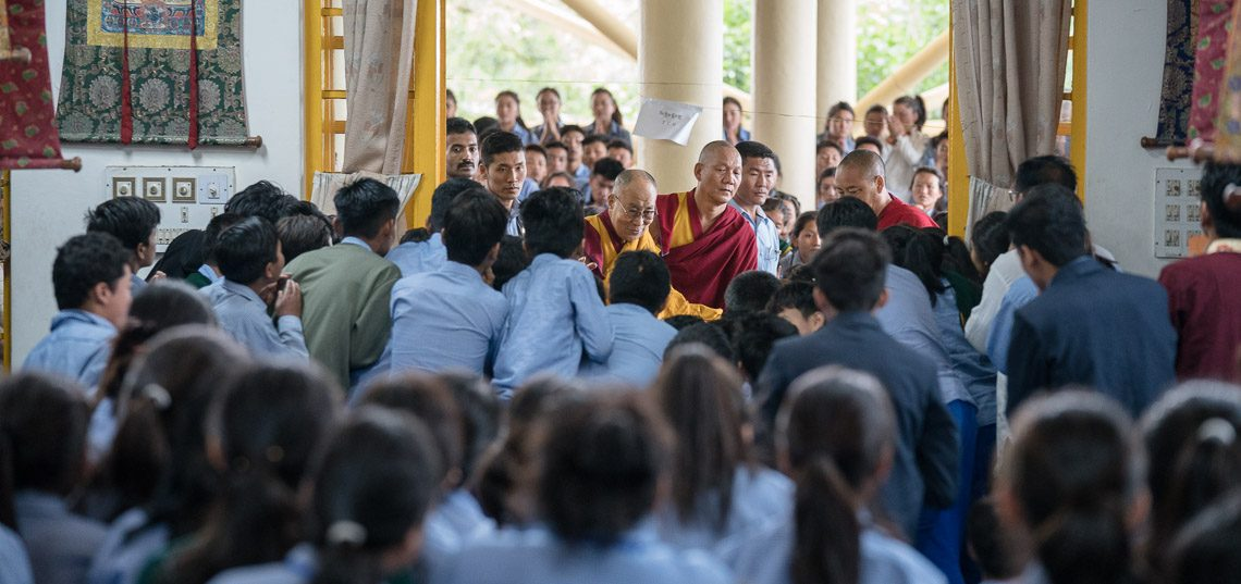 His Holiness the Dalai Lama arriving at the Main Tibetan Temple for the final day of his three day teaching for young Tibetans at the Main Tibetan Temple in Dharamsala, HP, India on June 7, 2017 (Photo courtesy: OHHDL)