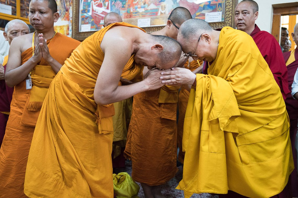 His Holiness the Dalai Lama greeting Thai monk at Main Temple at Dharamshala. (Photo courtesy: OHHDL)