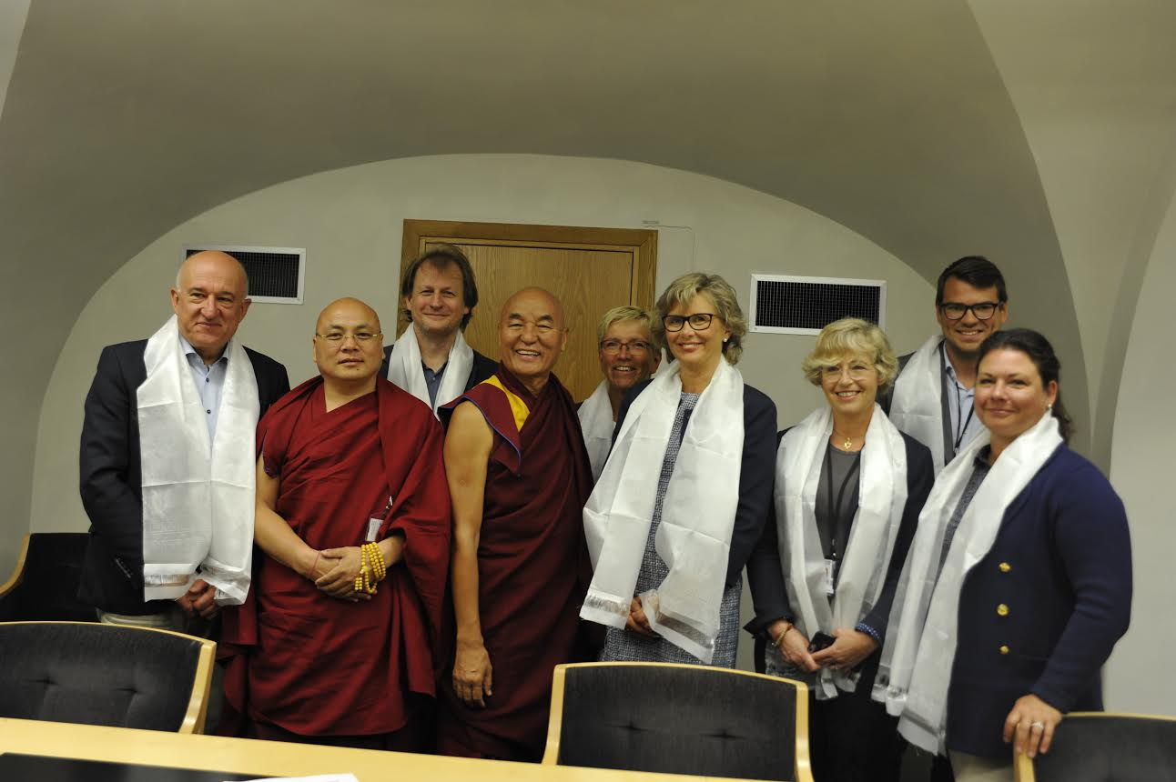 Ven. Thubten Wangchen, member of Tibetan parliament and Ven Golog Jigme with members of the Swedish parliament. (Photo courtesy: tibet.net)