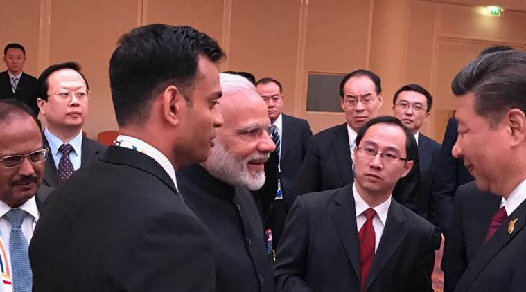At the BRICS leaders' informal gathering at Hamburg hosted by China, PM Narendra Modi and President Xi had a conversation on a range of issues. (Photo courtesy: Twitter/ @MEAIndia)