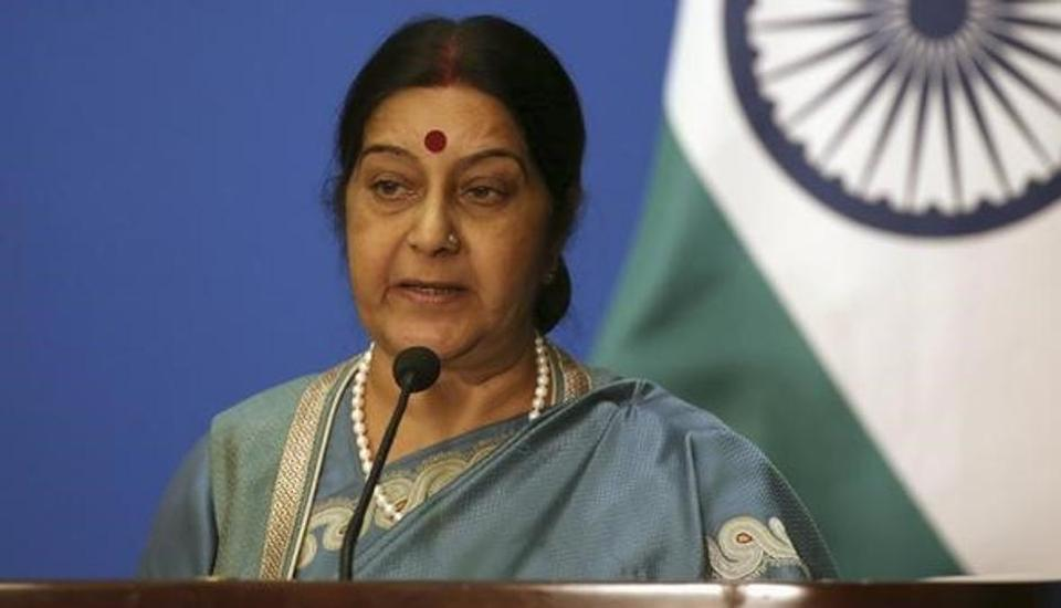 Indian External Affairs Minister Sushma Swaraj. (Photo courtesy: hindustantimes.com)