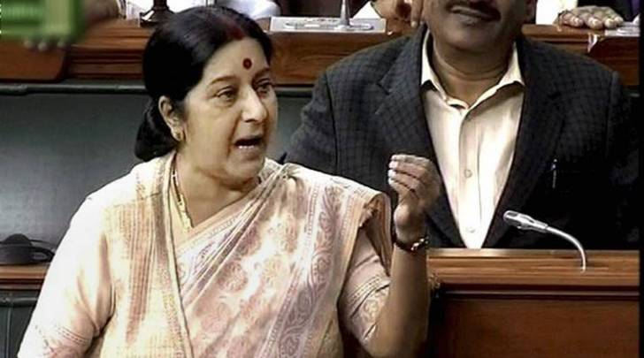 External Affairs Minister Sushma Swaraj speaks in the Lok Sabha in New Delhi. (Photo courtesy: PTI)