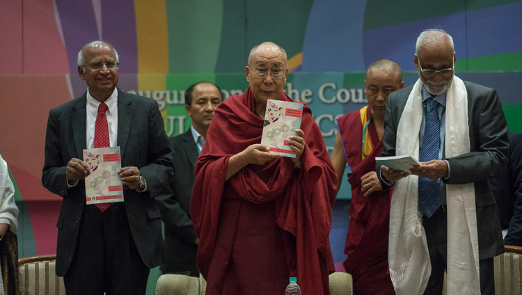 His Holiness the Dalai Lama in the formal launch of the course in Secular Ethics with the release of the course primer at Tata Institute of Social Sciences in Mumbai, India on August 14, 2017. (Photo courtesy:  T. Choejor/OHHDL)