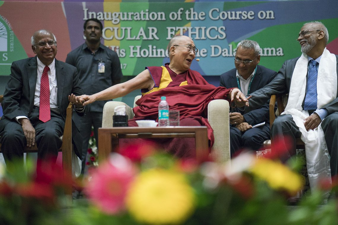 "The Dalai Lama on Aug 14 launched a course on ""Secular Ethics for Higher Education"" in the Convention Centre of the Tata Institute of Social Sciences (TISS) in India's commercial capital Mumbai. (Photo courtesy: OHHDL)"