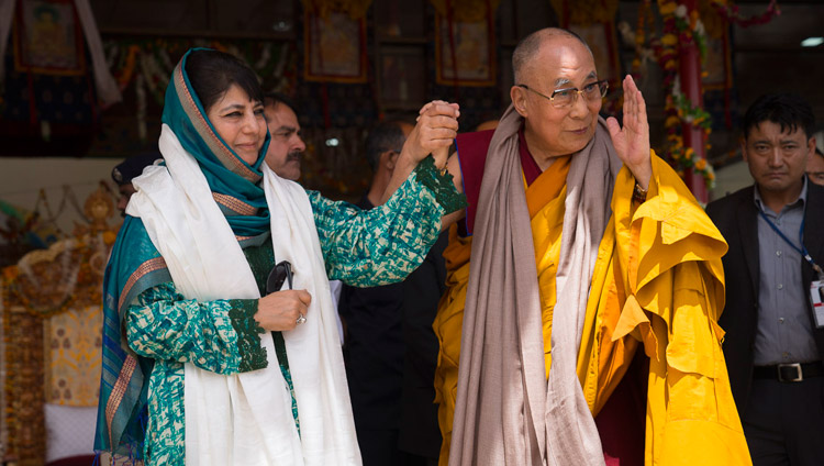 His Holiness the Dalai Lama with Jammu & Kashmir Chief Minister Mehbooba Mufti Sayeed on the final day of his teachings in Leh, Ladakh, J&K, India on July 30, 2017. (Photo courtesy: Tenzin Choejor/OHHDL)