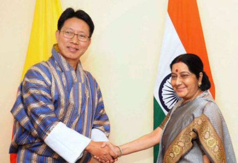Bhutan's foreign minister Damcho Dorji met with India's External Affairs Minister Sushma Swaraj on the sidelines of the 15th foreign minister-level meeting of BIMSTEC (Bay of Bengal Initiative for Multi-sectoral Technical and Economic Cooperation) Ministerial meeting in Nepal's capital Kathmandu.