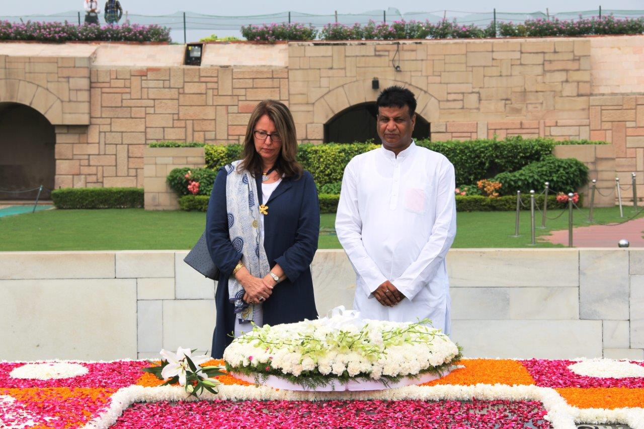 Austrian Ambassador Ms Brigitte Öppinger-Walchshofer visited Raj Ghat the memorial of the founder father of the nation, Mahatma Gandhi. (Photo courtesy: Austrian Embassy, New Delhi)