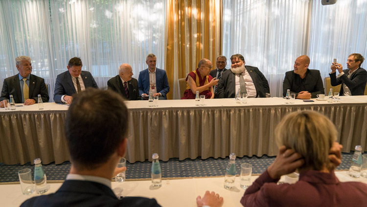 His Holiness the Dalai Lama meeting with parliamentarians from the Baltic States in Riga, Latvia on September 24, 2017. (Photo courtesy: T Choejor/OHHDL)