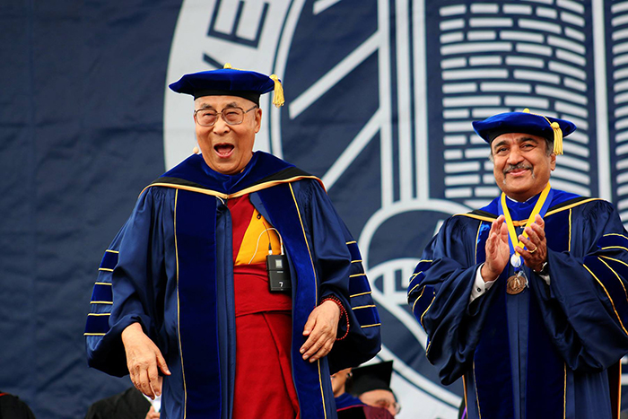 Tibet's exiled spiritual leader, the Dalai Lama with UC San Diego Chancellor Pradeep Khosla at the commencement ceremony of UC San Diego for the 2016-2017. (Photo courtesy: UCSD)