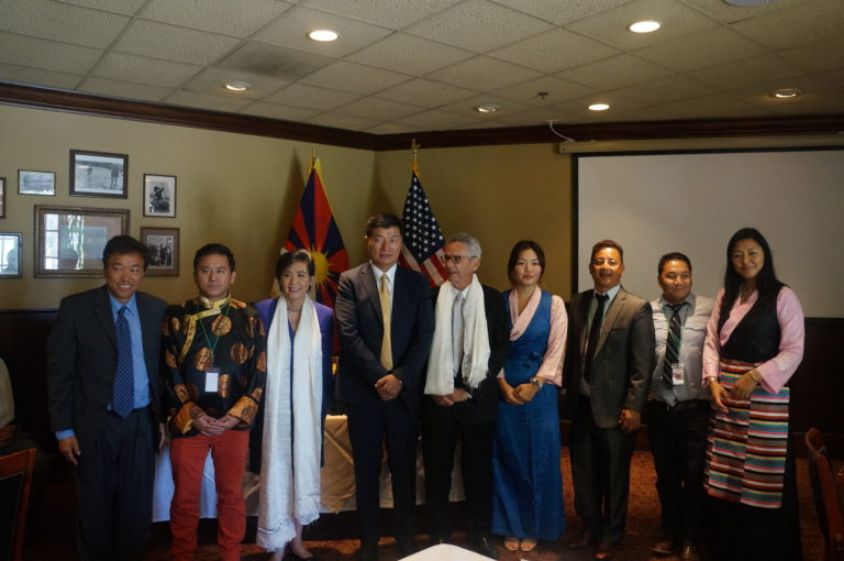 President of Central Tibetan Administration, Dr. Lobsang Sangay with Congressman Alan Lowenthal, Congresswoman Judy Chu and executive members of Tibetan Assoc of Souther California. (Photo courtesy: tibet.net)