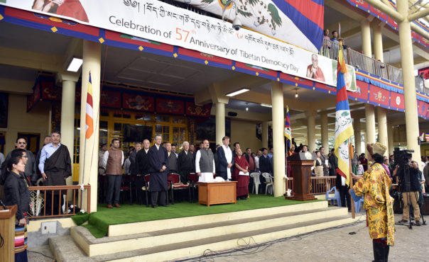 The Central Tibetan Administration at Dharamshala, India, marked the 57th Tibetan Democracy Day on the Tsuglakhang courtyard on Sep 2 morning with the Health Minister Mr Kaul Singh Thakur of Himachal Pradesh as chief guest and Swedish Greens MP Mr Carl Schlyter as the guest of honour. (Photo courtesy: tibet.net)