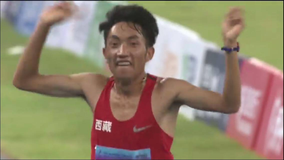 Tobgey from Lhasa has won the gold medal in 10,000m race.
