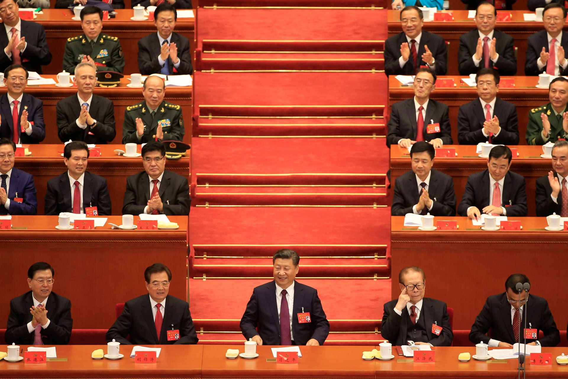 (Front row, L to R) The chairman of the standing committee of the National People's Congress Zhang Dejiang, former Chinese president Hu Jintao, Chinese president Xi Jinping, former president Jiang Zemin and Chinese premier Li Keqiang, at the opening ceremony (Photo courtesy: Aly Song/Reuters)