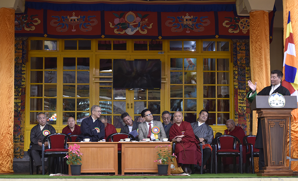 President Dr Lobsang Sangay addressing the 50th anniversary celebration of Tibetan settlement, Dharamshala, 9 October 2017. (Photo courtesy/T Phende/DIIR)