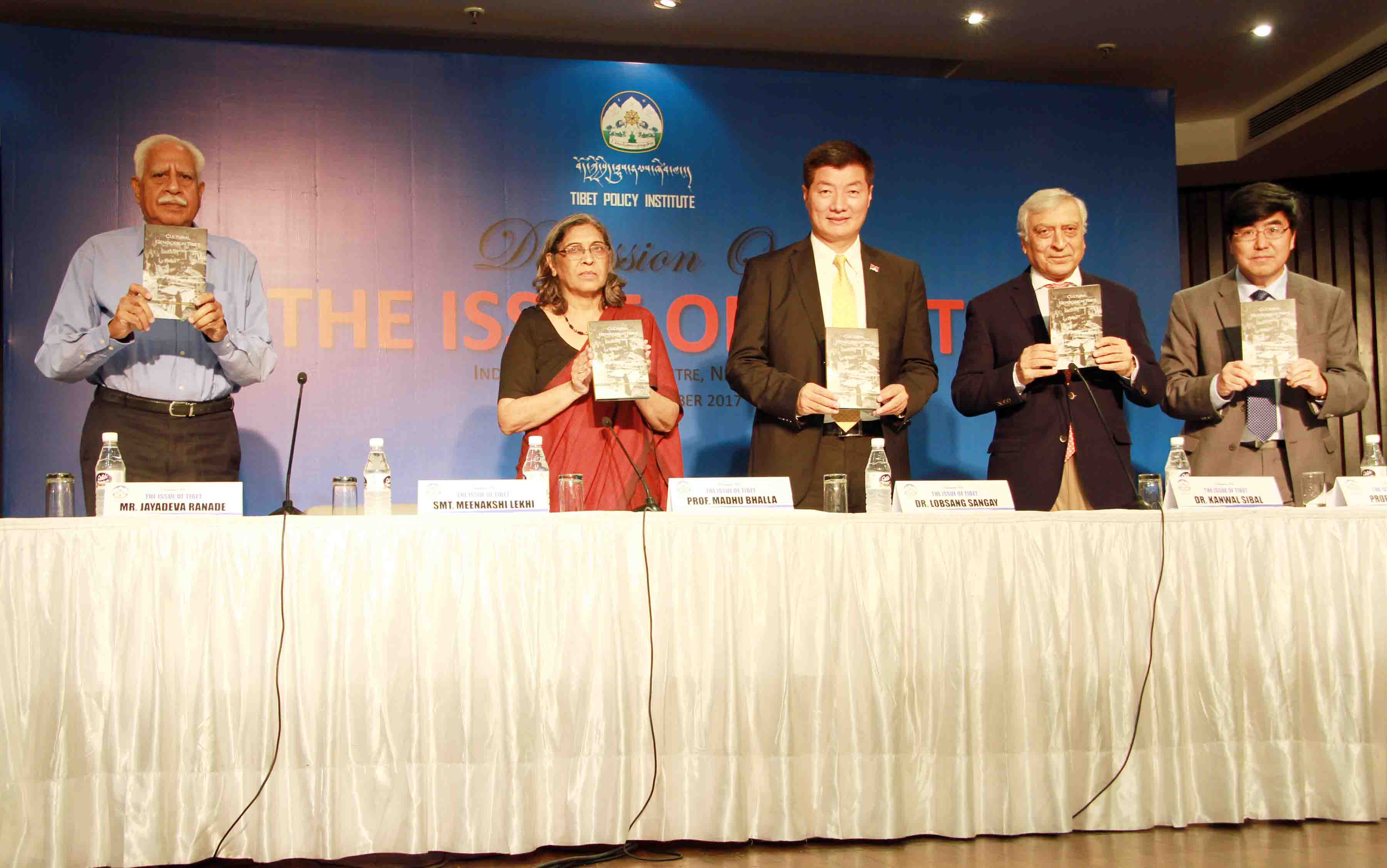 President Dr Lobsang Sangay along with the co-panelists releasing TPI's report on 'Cultural Genocide in Tibet'. (Photo courtesy: tibet.net)