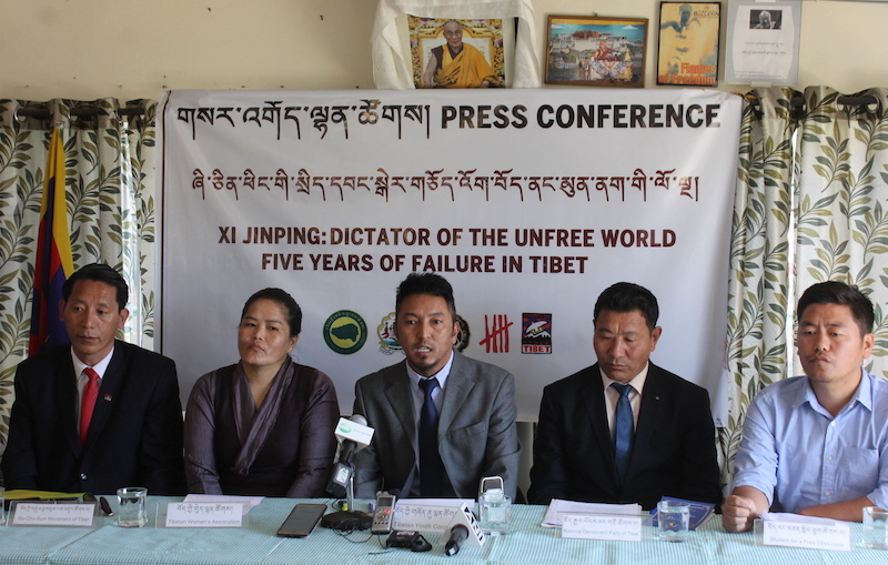 Representatives from five Tibetan NGOs at the joint press conference at TYC HQ. Oct. 17. 2017. (Photo courtesy: Kunsang Gashon/Phayul)