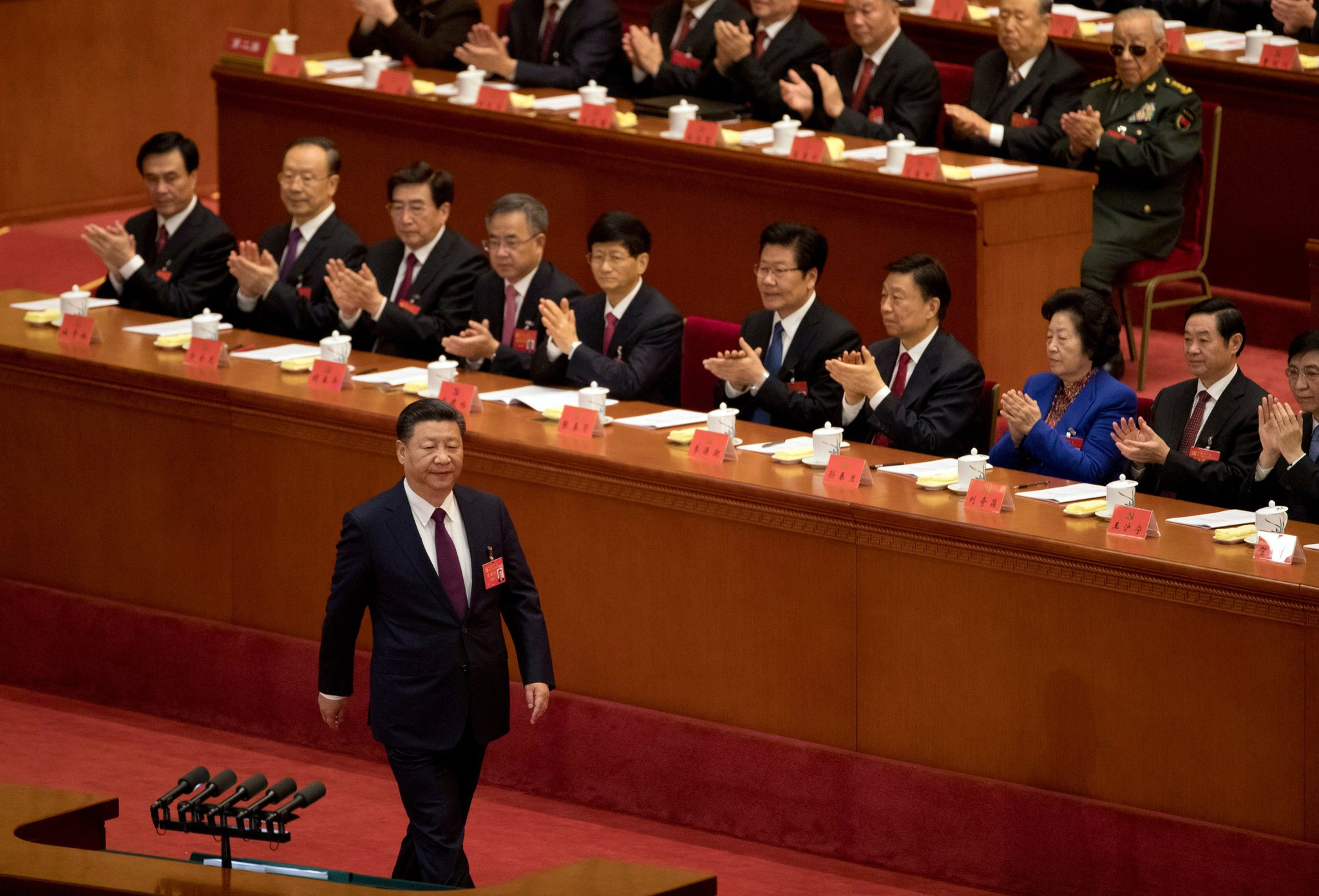 President Xi Jinping arriving for his speech at the opening of the 19th National Congress of the Chinese Communist Party, held at the Great Hall of the People in Beijing. (Photo courtesy: NYT)