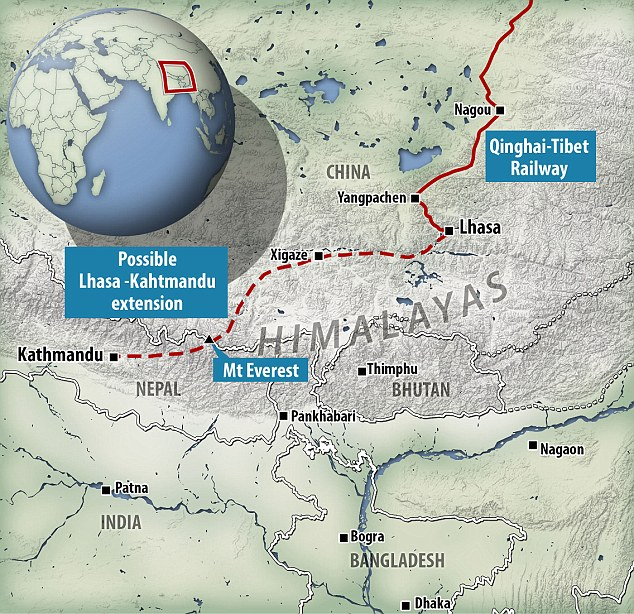 Map of Tibet-Lhasa Railways