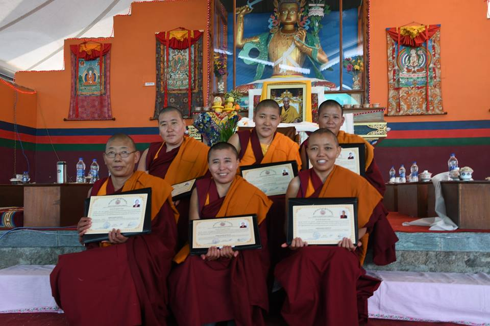 Six Tibetan Buddhist nuns were conferred their Geshema degree in Dharamshala on Nov 5. (Photo courtesy: Tibetan Nuns Project)
