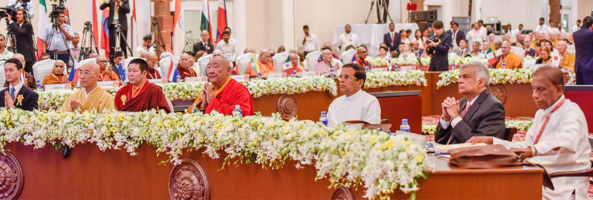 The President Mr Maithripala Sirisena and Prime Minister Ranil Wickremesinghe of Sri Lanka at the Supreme World Wide Buddhist Conference, in Sri Lanka from Nov 2 to 7. (Photo courtesy: buddhistsummitsrilanka.com)