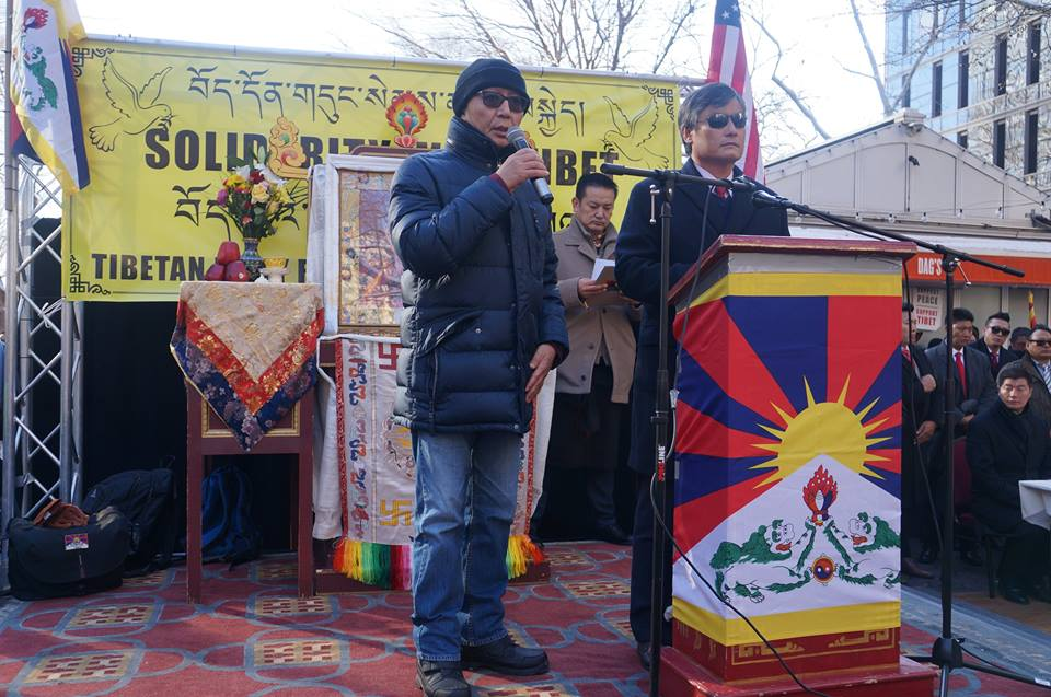 Chinese dissident Chen Guangchen speaking at the rally. (Photo courtesy: Office of Tibet, Washington DC)