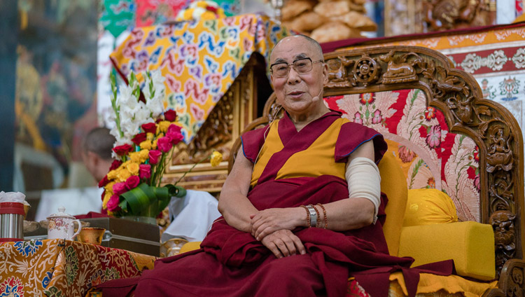 His Holiness the Dalai Lama addressing the gathering during the welcoming ceremony at Sera Lachi Monastery in Bylakuppe, Karnataka, India on December 19, 2017. (Photo courtesy: Tenzin Choejor/OHHDL)