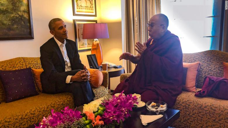 Former US President Barack Obama met with the Dalai Lama on Friday in India. (Photo courtesy: Tibet.net)