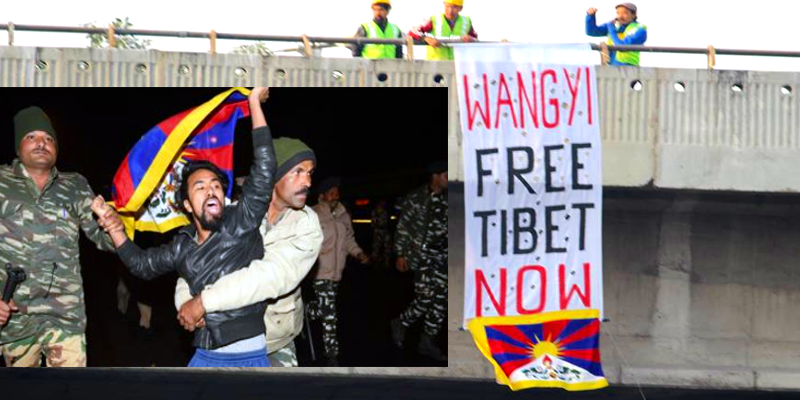 Tibet activists protested as Chinese foreign minister arrived in New Delhi for RIC meeting
