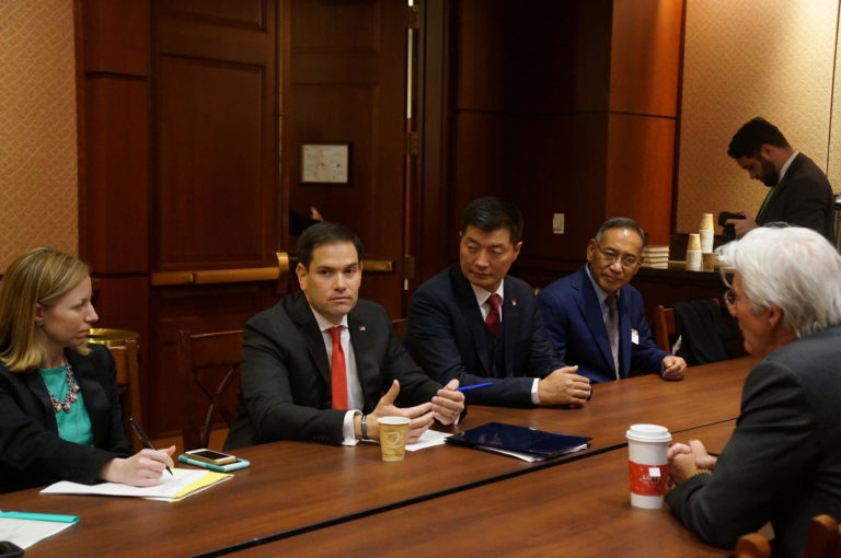 Senator Marco Rubio with the CTA President Dr Lobsang Sangay, Representative Ngodup Tsering, ICT Chairman Richard Gere at the Capitol Hill, Washington DC. (Photo courtesy: Tibet.net)