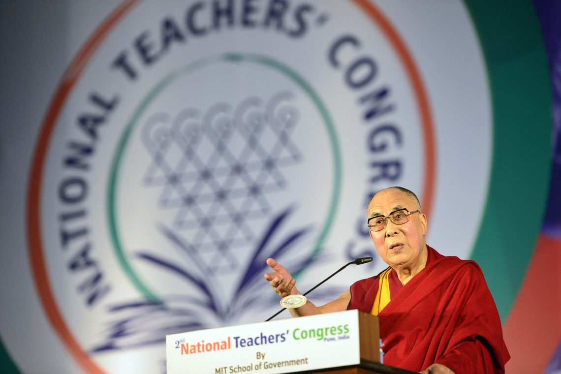 His Holiness the Dalai Lama addressing the audience at the 2nd National Teachers' Congress Inaugural Ceremony at the campus of MAEER MIT World Peace University in Pune, Maharashtra, India on January 10, 2018. (Photo courtesy: L Tsering/OHHDL)