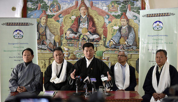 From left: Finance Secretary Trinley Gyatso, Finance Kalon Karma Yeshi, CTA President Dr Lobsang Sangay, MFin expert Alok Prasad, and Chief planning Officer Dr Kunchok Tsundue at the press conference on 17 January 2018. (Photo courtesy: T Phende/DIIR)