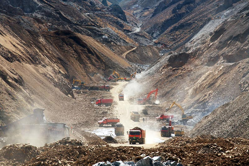 Large-scale mineral resource extraction in one of the four open pit mines in the Gyama valley. (Photo courtesy: Tibetan Environment and Development Desk)