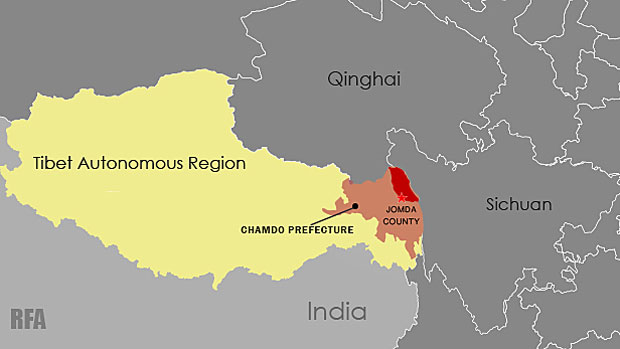 A map showing the location of Jomda county in Tibet's Chamdo prefecture. (Photo courtesy: RFA)