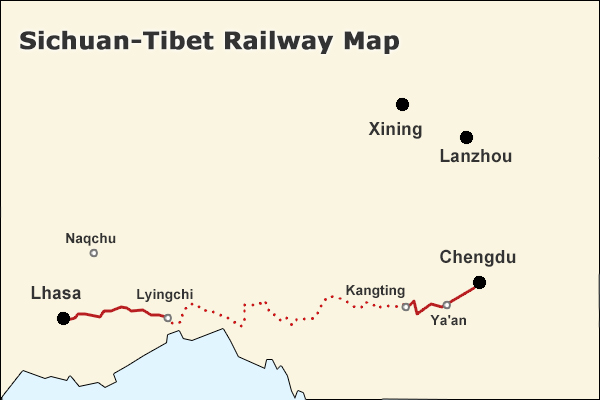 Sicuan Tibet railway Map