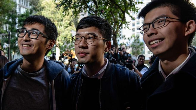 Left to right: Alex Chow, Nathan Law, and Joshua Wong. (Photo courtesy: BBC)