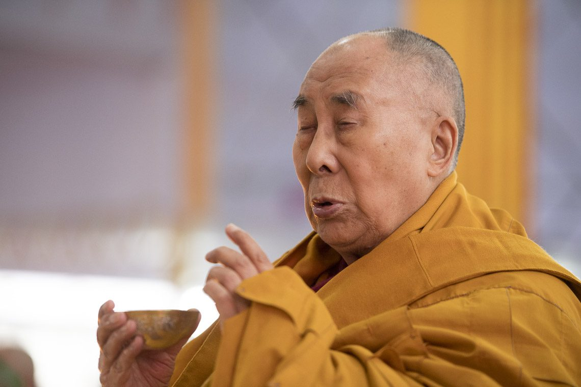 His Holiness the Dalai Lama performing preliminary procedure to prepare himself to grant empowerment in BodhGaya, Bihar, India on Jan 18, 2018. (Photo courtesy: Manuel Bauer/OHHDL)