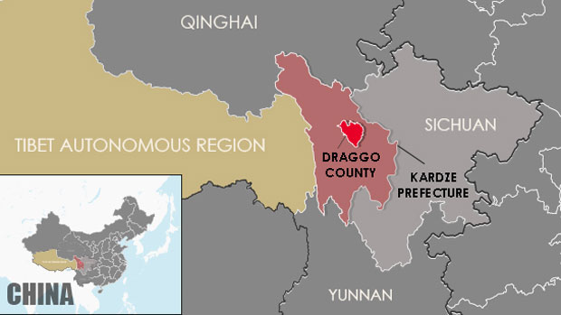 A map showing the location of Draggo county in Sichuan's Kardze prefecture. (Courtesy: RFA)