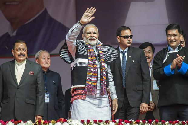 Prime Minister Narendra Modi at Itanagar in Arunachal Pradesh. (Photo courtesy: PTI)