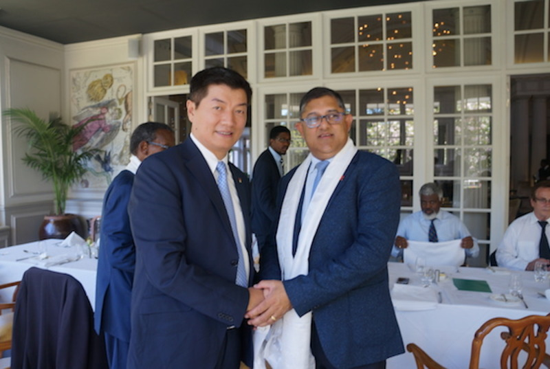 Inkatha Freedom Party's Chief Whip Narend Singh with Dr Lobsang Sangay, President of Central Tibetan Administration. (Photo courtesy: tibet.net)