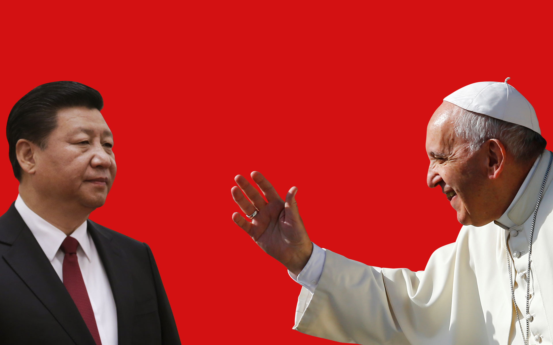 PAPAL OVERTURE: Pope Francis, seen here in a photomontage with Chinese President Xi Jinping, has been sending overtures to Beijing since he became pope in March 2013, signaling he wants to transform the frigid relations between the Vatican and China. (Photo courtesy:REUTERS/Jason Lee/Stefano Rellandini)