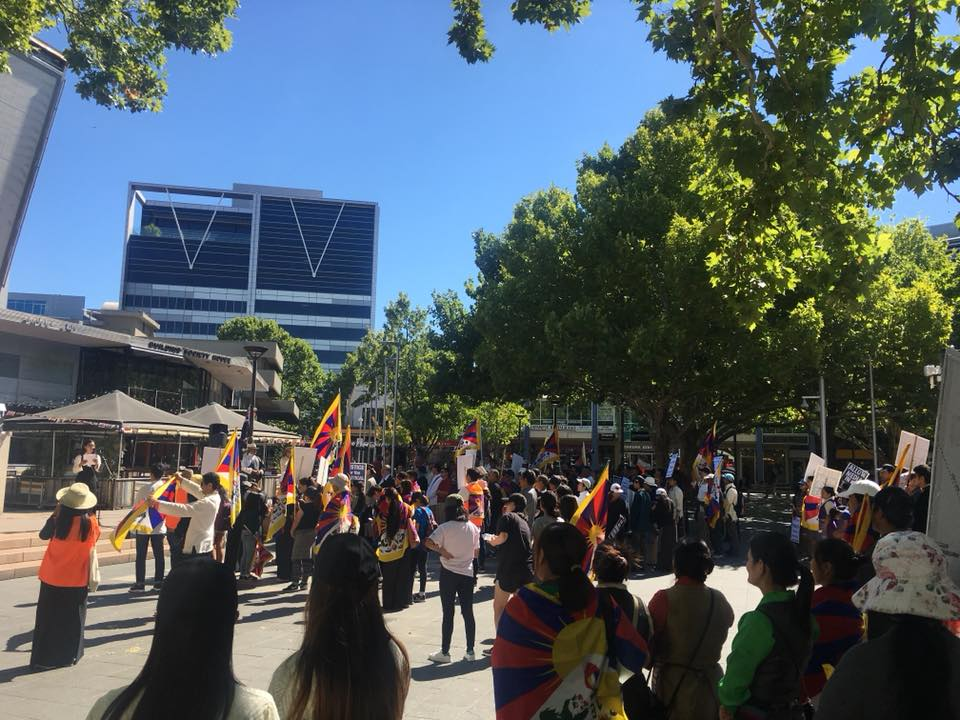 Protest held before Chinese embassy in Canberra to mark 59th Tibet Uprising anniversary