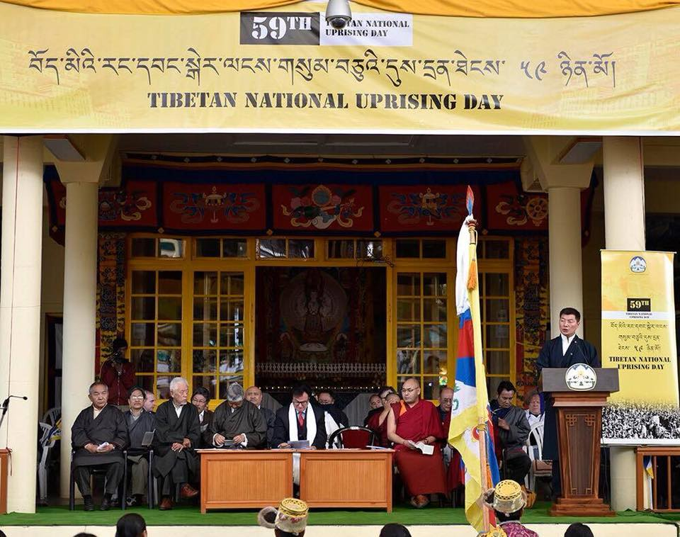 President Dr Lobsang Sangay of the Central Tibetan Administration speaking on Mar 10 during the commemoration at Dharamshala, India, marking the 59th anniversary of the Tibetan National Uprising.  (Photo courtesy: DIIR)