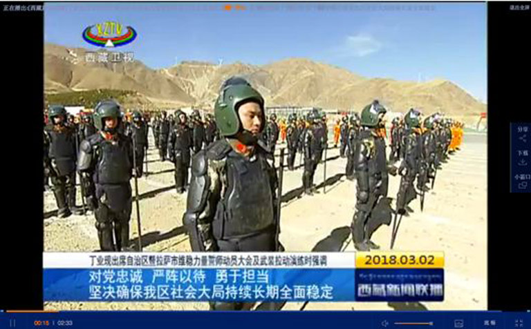These clips from Chinese state media television show military drills in Lhasa on March 2, 2018. (Photo courtesy: ICT)