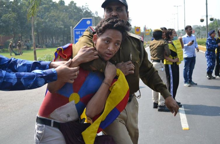 Police in India's capital New Delhi took into custody around 80 Tibetan activists. (Photo: PTI)