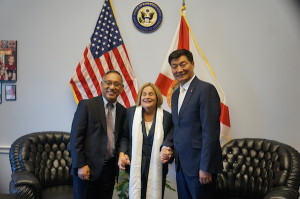 CTA President Dr Lobsang Sangay and Representative Ngodup Tsering with US Congresswoman Ileana Ros-Lehtinen in Washington DC. (Photo courtesy: tibet.net)