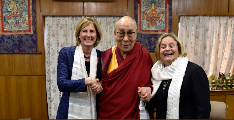 His Holiness the Dalai Lama with the US Representatives Ileana Ros-Lehtinen and Claudia Tenney during their visit to Dharamshala, India.