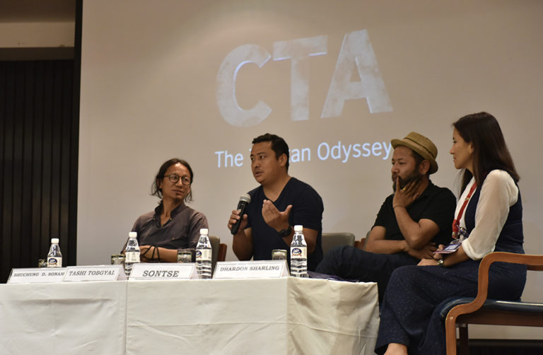 (L-R) Bhuchung D Sonam, Tashi Tobgyal, Sonam Tseten discussing their documentary, 'CTA: The Tibetan Odyssey' along with DIIR Secretary Tenzin Dhardon Sharling during the interaction. (Photo courtesy/Tenzin Phende/DIIR)