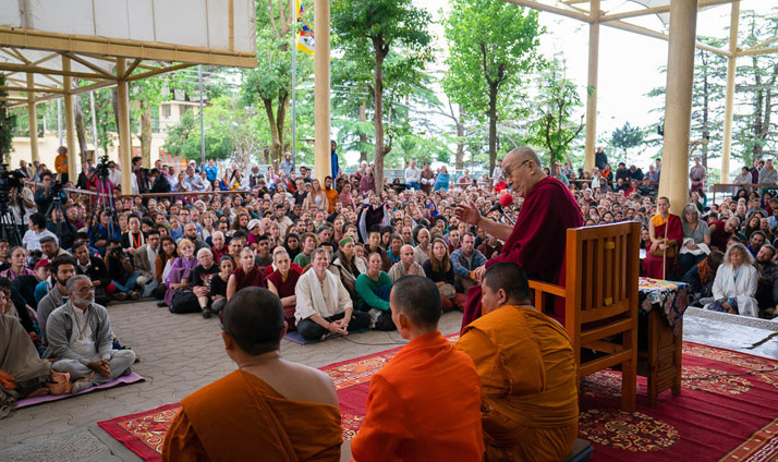 His Holiness the Dalai Lama addressing the crowd of tourists from over 68 countries and India gathered at the Main Tibetan Temple courtyard in Dharamsala, HP, India on April 16, 2018. (Photo courtesy: T Choejor/OHHDL)