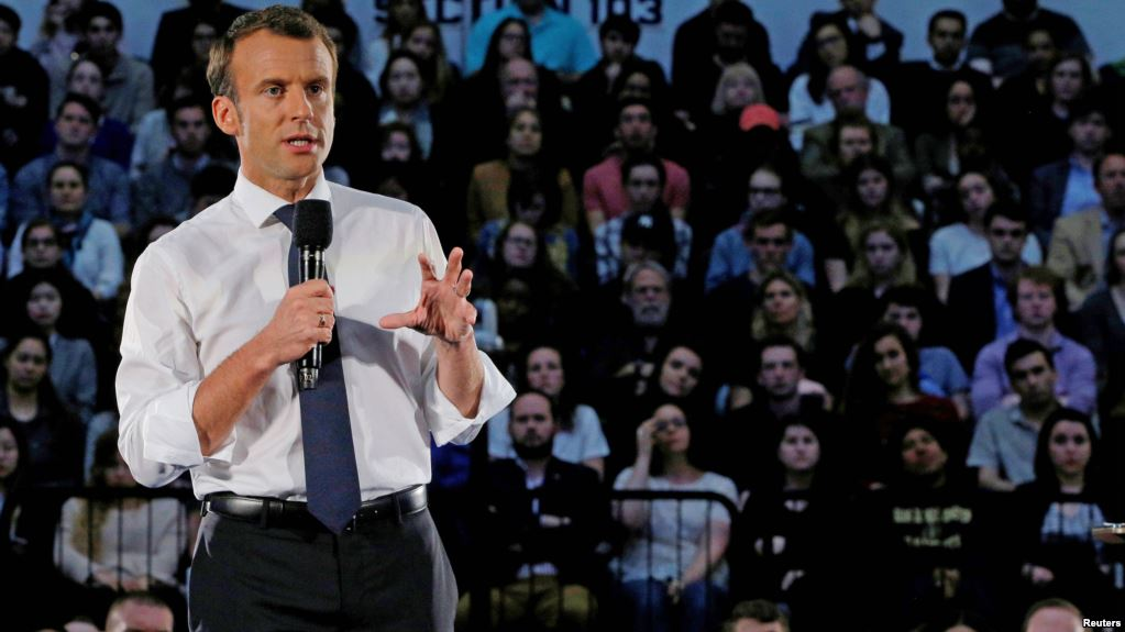 French President Emmanuel Macron answers a question from student in the audience during a town hall meeting at George Washington University in Washington, U.S., April 25, 2018.   (Photo courtesy: REUTERS/Brian Snyder)
